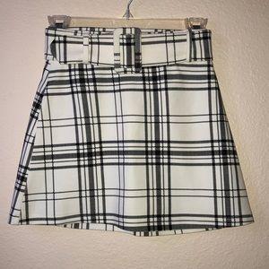 Zara Plaid Belted Mini Skirt